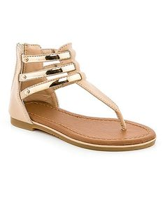 Another great find on #zulily! Beige Triple-Bar T-Strap Sandal by COCO Jumbo #zulilyfinds