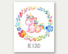 Be Kind Print Unicorn Wall Art Nursery by TheSunshineGarden