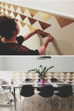 26 DIY Cool And No-Money Decorating Ideas for Your Wall - Use some metallic gold contact paper to create a chic and trendy wall display.