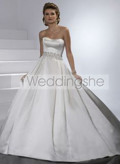 Simple Ball Gown Strapless Chapel Train Wedding Dress with Bowknot(Free Shipping)