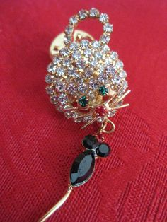 Vintage Rhinestone Cat and Mouse Pin by VintageByThePound on Etsy