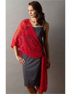 "Pattern available to buy for ""Filet Crochet Sari-Wrap""...love the red!"