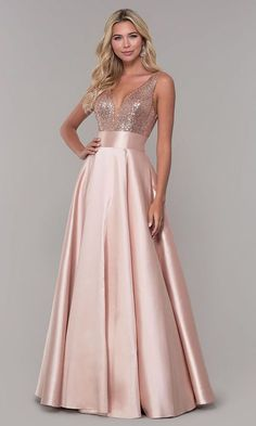 Women's Sequin Rose Gold Prom Dresses Long V-Neck Backless Bridesmaid Dresses Formal Evening Ball GownsShop sequin-bodice designer prom dresses at PromGirl. Sequin-bodice long formal dresses and Dave and Johnny satin dresses with open-back sequin bod Backless Bridesmaid Dress, Backless Long Dress, Gold Prom Dresses, Satin Dresses, Elegant Dresses, Beautiful Dresses, Evening Dresses, Long Dresses, Dress Long