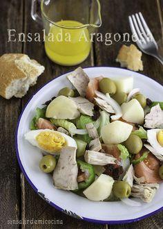 SIN SALIR DE MI COCINA: Ensalada Aragonesa y un par de trucos Cobb Salad, Potato Salad, Potatoes, Meat, Chicken, Ethnic Recipes, Food, Gastronomia, Pastries