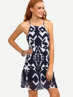 A trendy little navy boho summer dress with ethnic geometric print. DESCRIPTION Fabric:Fabric has no stretch Season:Summer Pattern Type:Floral Sleeve Length:Sleeveless Color:Navy Dresses Length:Short