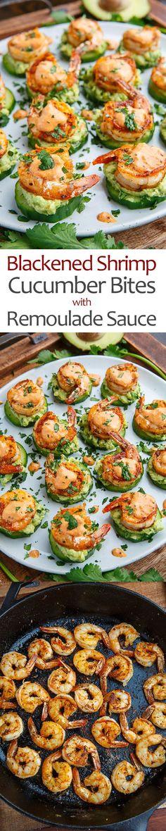 Blackened Shrimp Avocado Cucumber Bites with Remoulade Sauce