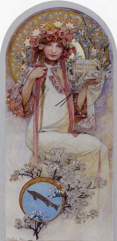 1903 The Girl of Ivancice pencil, charcoal, watercolour, gouache & gold paint on board 43.5 x 20 cm - Alphonse Mucha
