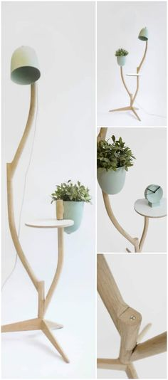 A multi-purpose piece of furniture, with a small footprint and numerous configurations. The Branch-out contains separate nature inspired branches, which can be connected in countless possibilities. At the end of each branch, a flower pot, table, lamp or a next branch can be connected. The piece can be assembled to your specific needs, and easily rearranged to fit each environment. #concept #floorlamp #handmadelighting #hugelighting #lamp #led #lighting #lightingdesign #tablelamp #woodworking