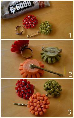 DIY - Felt flower jewelry - tutorial ♥