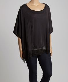 Black Fringe Scoop Neck Top - Plus by Highness NYC #zulily #zulilyfinds