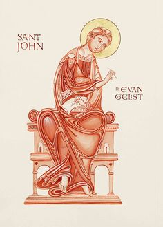 St John the Evangelist, from the Lambeth Bible. Monochrome of St john the evangelist on Fabriano artistico paper