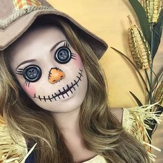 Dress up as a scarecrow on Halloween with the help of this costume makeup tutorial.