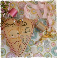:: Crafty :: Stitch :: Love Cat Mouse pincushion scissor fob PDF Pattern - embroidery stitchery Chatelaine instant download