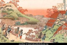 Women Returning Home at Sunset (Sarumaru Dayu) (1835) by Katsushika Hokusai (1760-1849)