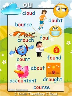 ou words Phonics Poster - FREE & PRINTABLE - For Auditory Discrimination, Exploring Letter Sounds, Literacy Groups or as a Phonics Word Wall Poster. Phonics Reading, Teaching Phonics, Phonics Activities, Teaching Reading, Teaching Kids, Kids Learning, Phonics Lessons, Jolly Phonics, Learning Spanish