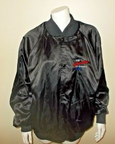 ead976696dc Vintage Mens Chevrolet Heartbeat of America Black Satin Jacket XL Chevy  WestArk  WestArk Satin Jackets