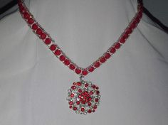 Choker and earrings jewelry set with red Swarovski crystal rounds and red rhinestone components by sassybeadedjewelry. Explore more products on http://sassybeadedjewelry.etsy.com