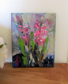 SALE! Hyacinth Flowers Original Art Contemporary Palette Knife Painting 8 x 10 inches Free Shipping USA by AnneThouthipFineArt on Etsy