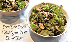 This kale salad is so good your whole family will ove it. Vegan Recipes Easy, Great Recipes, Vegetarian Recipes, Cooking Recipes, Kale Salad Recipes, Walnut Salad, Healthy Side Dishes, Soup And Salad, Big Salads