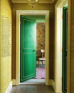 nailhead trimmed green doors. swoon.