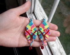 Ethnic boho micro macrame earrings Summer Rainbow by MartaMacrame