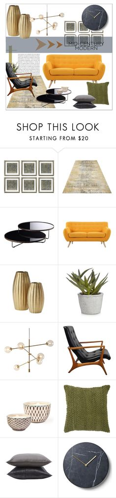 """Clean Spaces: Mid-Century Modern"" by moody-board ❤ liked on Polyvore featuring interior, interiors, interior design, home, home decor, interior decorating, Eichholtz, Modloft, Madison and Bambeco"