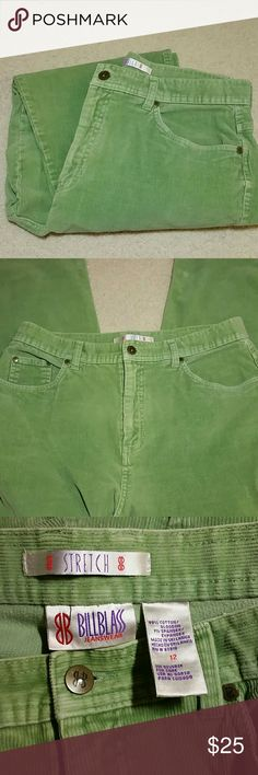 Bill Blass stretch cords Bill Blass green stretch cords.  Size 12.  99% cotton,  1% spandex.  Perfect condition. Bill Blass Pants Boot Cut & Flare