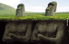We all know that the easter island heads have bodies – that's not a mystery at all. But how did the easter island population build hundreds of statues? Statue Art, Head Statue, National Geographic, Easter Island Statues, Stone Statues, Buddha Statues, Greek Statues, Historical Monuments, Ancient Aliens