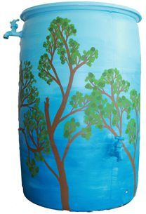 Get lost in the woods and collect rainwater with Anne McKenzie's 2013 rain barrel.