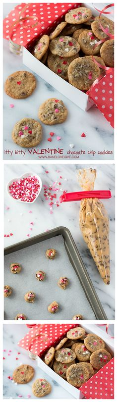 itty bitty valentine chocolate chip cookies - Bake Love Give - Itty Bitty Valentine Chocolate Chip Cookies – you won't believe how easy these are to make! Valentines Baking, Valentine Cookies, Valentines Day Treats, Fun Cookies, Valentine Desserts, Mini Desserts, Delicious Desserts, Dessert Recipes, Chocolate Chip Cookies