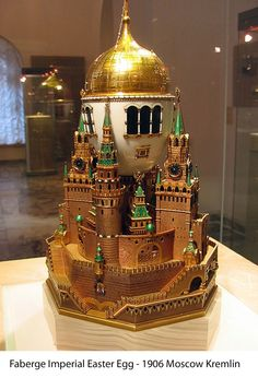 "(1) FABERGE eggs__"" Moscow Kremlin, 1906. (or Uspenski Cathedral Egg), 1906. Presented by Nicholas II to Czarina Alexandra Fyodorovna. Onyx, four colors gold, silver, glass. Kept in Kremlin Armoury Museum, Moscow."