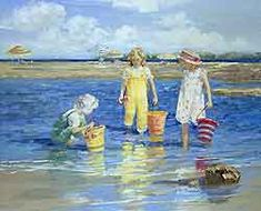 The Colors of Summer by Sally Swatland - 26 x 32 inches Signed impressionist beach scenes children playing contemporary american chase pothast