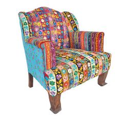 Find an old chair & put a mix of fabulous fabrics on it & wahlah! Velvet Floral Chair now featured on Fab.