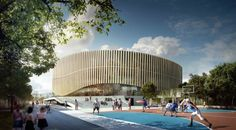 Can an arena be a good neighboor?Large stadiums and music venues are often placed in the outskirts of cities, but not in Copenhagen. Royal Arena, a. 3d Architecture, Architecture Visualization, Design Competitions, Roof Design, Cladding, Malaga, Exterior, Building, Google Search