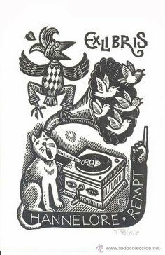 Ex libris con tema musical.