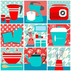 This bundle contains all 9 of the Sew Kitschy paper pieced patterns. These patterns are all themed around the vintage kitchen - from every day appliances right down to the lady of the house herself! The pattern make 10