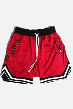 Men Stripe Contrast Drawstring Waist Sport Basketball Shorts - Red, M Red Shorts, Sport Shorts, Casual Shorts, Gym Shorts Womens, Jersey Shorts, Summer Shorts, Sports Basketball, Basketball Crafts, Basketball Cookies