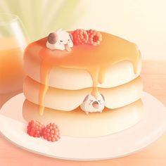 Cute Food Drawings, Cute Kawaii Drawings, Kawaii Art, Drawing Wallpaper, Kawaii Wallpaper, Cute Food Art, Cute Art, League Of Legends, Pancake Drawing