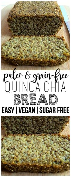 The super hearty & delicious Gluten-Free Chia Bread will be your new favorite breakfast! It is loaded with nutrition and totally scrumptious. Vegan, gluten-free, egg-free, dairy-free and sugar-free. Perfect to top with some sliced avocado or nut butter. Lactose Free Diet, Vegan Gluten Free, Gluten Free Recipes, Vegan Recipes, Diet Recipes, Recipies, Dairy Free Eggs, Egg Free, Pan Sin Gluten