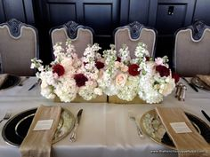 Centerpiece in Gold Zodiac Vase with Stock, Roses, Hydrangea, Carnations, Dahlias, and Spray Roses - The French Bouquet