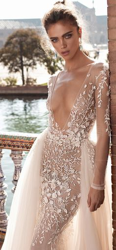 berta fall 2018 bridal long sleeves deep v neck heavily embellished bodice sexy romantic fit and flare mermaid wedding dress a line overskirt open scoop back chapel train zv -- Berta Fall 2018 Wedding Dresses Gorgeous Wedding Dress, Best Wedding Dresses, Beautiful Dresses, Wedding Gowns, Boho Wedding, Sicily Wedding, Dream Wedding, Trendy Wedding, Luxury Wedding