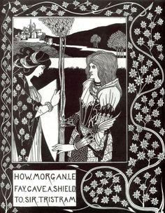 BEARDSLEY, Aubrey English Art Nouveau,Golden Age Illustrator (1872-1898)_How Morgan Le Fay Gave a Shield to Sir Tristram 1893-1894