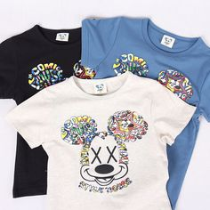 2015 Summer 100%Cotton Boy Colorful Mickey Top Tee Children Short Sleeve T shirt #cisi #EverydayHoliday