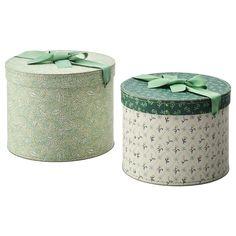 IKEA - ANILINARE アンニリナレ, ボックス2個セット, 丸形, グリーン フローラルパターン, おしゃれで使い勝手のいいボックス。目隠し収納したいものをしまって手近に置いておけます アクセサリーやスカーフなどの収納に ボックス 大(直径26cm、高さ19cm)1個、ボックス 小(直径22cm、高さ15.5cm)1個 FJÄLLA/フィェラ シリーズ、ANILINARE/アンニリナレ シリーズの商品とコーディネートできます