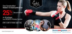 Get upto 25% off on Quaterly/Half-yearly/ Annual Fitness Package from SPORTZ Fitness Centre.  http://www.foreseegame.com/user/ExchangeListing.aspx?STag=afa077ddffb4f920cf48883dadcc002076458cc2c835697d