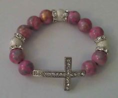 Pink and Silver Cross Bracelet by justBglam on Etsy, $20.00  jewelry, accessories, bracelets, fashion