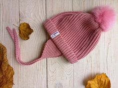 Pink New baby hat Winter pom hat Baby hat earflaps Modern