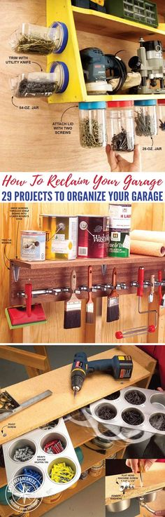 How To Reclaim Your Garage - 29 Projects to Organize Your Garage — Has your garage been taken over by bikes, outdoor toys, tools, lawn care products, and other junk? It's time to take the space back! Reclaim your garage with these storage and organizing ideas that help you corral clutter and stow your stuff in a neat and orderly fashion.