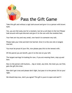 Wedding Shower Pass The Gift Poem : Pass the Present Poem/Game Heidis Babyshower Pinterest Baby ...