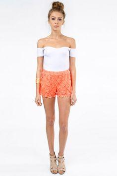 white tube top, crochet shorts & sandals